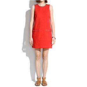 Madewell Red Sleeveless Zip Shift Dress